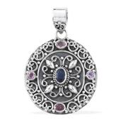 Artisan Crafted Multi Sapphire Sterling Silver Pendant without Chain TGW 1.35 cts.