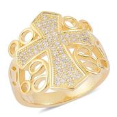 ELANZA Simulated White Diamond 14K YG Over Sterling Silver Ring (Size 6.0) TGW 0.50 cts.