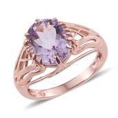 Rose De France Amethyst 14K RG Over Sterling Silver Ring (Size 7.0) TGW 4.35 cts.