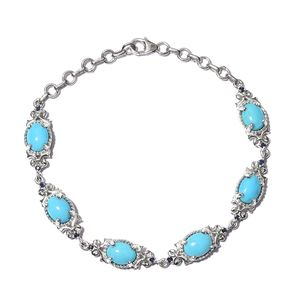 Arizona Sleeping Beauty Turquoise, Kanchanaburi Blue Sapphire Platinum Over Sterling Silver Bracelet (7.50 In) TGW 5.10 cts.