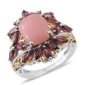 Peruvian Pink Opal, Orissa Rhodolite Garnet 14K YG and Platinum Over Sterling Silver Ring (Size 7.0) TGW 6.47 cts.