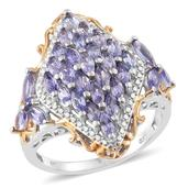 Deepak's Dazzling Deals Tanzanite 14K YG and Platinum Over Sterling Silver Ring (Size 10.0) TGW 3.85 cts.