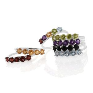 One Day TLV Set of 7 Multi Gemstone Sterling Silver 5 Stone Stack Rings (Size 9) TGW 11.14 cts.