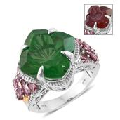 Alexandria Quartz, Bekily Color Change Garnet, Orissa Rhodolite Garnet 14K YG and Platinum Over Sterling Silver Ring (Size 7.0) TGW 19.55 cts.