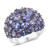 Tanzanite Platinum Over Sterling Silver Ring (Size 7.0) TGW 7.37 cts.