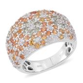 Multi Sapphire, Cambodian White Zircon Sterling Silver Cluster Ring (Size 9.0) TGW 4.36 cts.