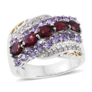 Anthill Garnet, Cambodian Zircon 14K YG and Platinum Over Sterling Silver Ring (Size 8.0) Made with SWAROVSKI Violet Crystal TGW 3.37 cts.