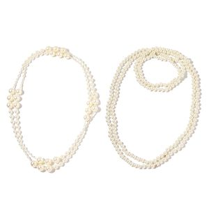 White Resin Pearl, Glass Pearl Endless Set of 2 Necklace (76 in)