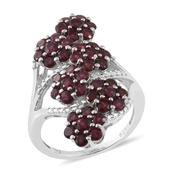 Anthill Garnet Platinum Over Sterling Silver Ring (Size 7.0) TGW 4.06 cts.