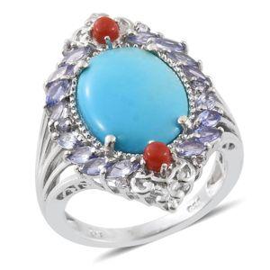 Arizona Sleeping Beauty Turquoise, Multi Gemstone Platinum Over Sterling Silver Ring (Size 7.0) TGW 8.52 cts.