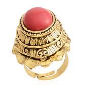 Nefertiti's Treasure Red Howlite Silvertone Ring (Size 6.5) TGW 20.00 cts.