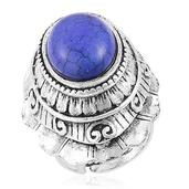Nefertiti's Treasure Blue Howlite Silvertone Ring (Size 6.5) TGW 20.00 cts.