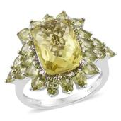 Ouro Verde Quartz, Hebei Peridot Platinum Over Sterling Silver Ring (Size 6.0) TGW 10.76 cts.