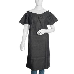 Black Denim Short Tunic with Smocked Effect Shoulder-Size 20