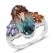 Aqua Terra Costa Quartz, Multi Gemstone Platinum Over Sterling Silver Ring (Size 9.0) TGW 11.73 cts.