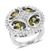 Simulated Green Diamond, White Austrian Crystal Stainless Steel Ring (Size 10.0) TGW 6.25 cts.