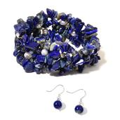 Lapis Lazuli Chips, Freshwater Pearl Sterling Silver Bracelet (Stretchable) and Earrings TGW 276.00 cts.