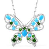 Arizona Sleeping Beauty Turquoise, Russian Diopside, White Zircon Sterling Silver Butterfly Pendant With Chain (18 in) TGW 5.50 cts.