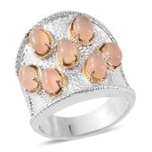 Sri Lankan Orange Moonstone ION Plated YG and Stainless Steel Ring (Size 8.0) TGW 4.20 cts.