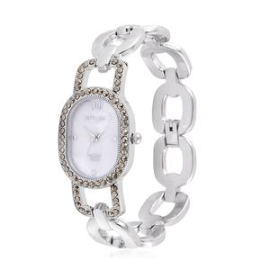 STRADA Swiss Marcasite Japanese Movement Bracelet Watch in Silvertone with Stainless Steel Back TGW 0.50 cts.