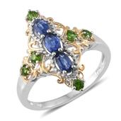 Himalayan Kyanite, Russian Diopside 14K YG and Platinum Over Sterling Silver Elongated Ring (Size 7.0) TGW 1.30 cts.