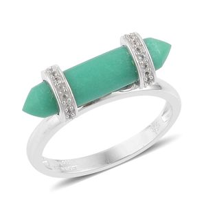 Inspire by Liz Fuller, Abundance Collection Strength Australian Chrysoprase, White Topaz 935 Argentium Sterling Silver Ring (Size 8.0) TGW 5.51 cts.