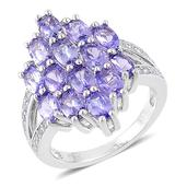 Tanzanite, White Zircon Sterling Silver Ring (Size 7.0) TGW 3.71 cts.