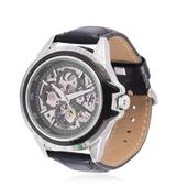 GENOA Mechanical Dial Watch in Dark Silvertone with Black Genuine Leather Strap and Stainless Steel Back