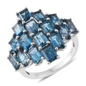 London Blue Topaz Platinum Over Sterling Silver Ring (Size 10.0) TGW 12.76 cts.