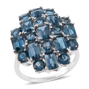 London Blue Topaz Platinum Over Sterling Silver Ring (Size 9.0) TGW 11.65 cts.