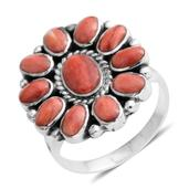 Santa Fe Style Spiny Oyster Shell Red Sterling Silver Split Ring (Size 8.0)