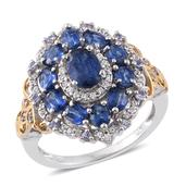 Himalayan Kyanite, Tanzanite, Cambodian Zircon 14K YG and Platinum Over Sterling Silver Ring (Size 6.0) TGW 4.51 cts.