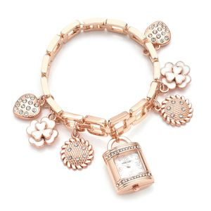STRADA White Austrian Crystal, Enamled Japanese Movement Water Resistant Multi Charm Bracelet Watch in Rosetone