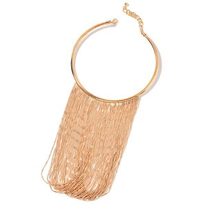 Designer Inspired Rosetone Fringe Necklace (14-16 in)