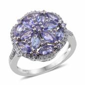 Tanzanite, Cambodian Zircon Platinum Over Sterling Silver Ring (Size 6.0) TGW 4.02 cts.