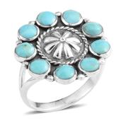 Santa Fe Style Turquoise Sterling Silver Ring (Size 8.0) TGW 2.05 cts.