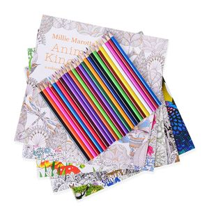 Set of 5 Anti-Stress Adult Coloring Books and Box of 24 Colored Pencils