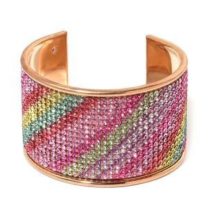 Multi Color Austrian Crystal Goldtone Cuff (7.50 in)
