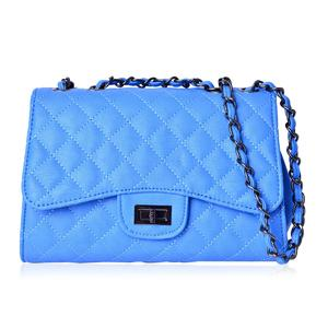 Aquamarine Faux Leather Quilted Pattern Crossbody Bag with Adjustable Strap (9.5x3.5x6.5 in)
