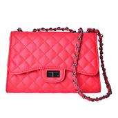 Red Faux Leather Quilted Pattern Crossbody Bag (9.4x4.2x6.4 in)