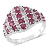 Burmese Ruby, Cambodian White Zircon Sterling Silver Culster Ring (Size 8.0) TGW 2.84 cts.