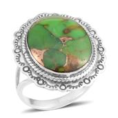 Santa Fe Style Mojave Green Turquoise Sterling Silver Ring (Size 6.0) TGW 3.75 cts.
