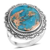 Santa Fe Style Mojave Blue Turquoise Sterling Silver Ring (Size 7.0) TGW 3.75 cts.