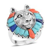 Santa Fe Style Lapis Lazuli, Turquoise, Spiny Oyster Shell Red Sterling Silver Wolf Head Men's Ring (Size 12.0) TGW 3.00 cts.