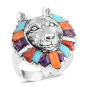 Santa Fe Style Multi Gemstone Sterling Silver Wolf Head Ring (Size 12.0) TGW 2.00 cts.