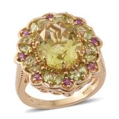 Ouro Verde Quartz, Multi Gemstone 14K YG Over Sterling Silver Ring (Size 8.0) TGW 7.86 cts.