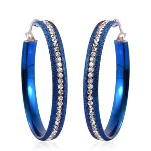 Austrian Crystal ION Plated Blue Stainless Steel Hoop Earrings