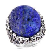 Lapis Lazuli Cameo Carved, Swiss Marcasite Enameled Stainless Steel Ring (Size 10.0) TGW 26.50 cts.