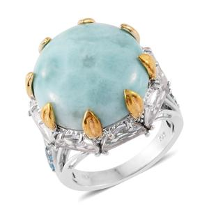 Sea Mist Larimar, Electric Blue Topaz, White Topaz 14K YG and Platinum Over Sterling Silver Ring (Size 8.0) TGW 31.35 cts.