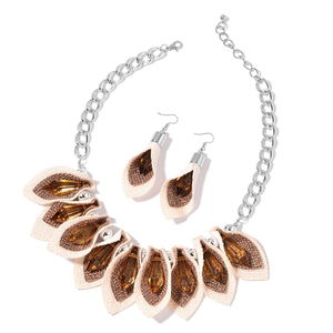 Brown Chroma Stainless Steel Fabric Earring and Bib Necklace (20 in)